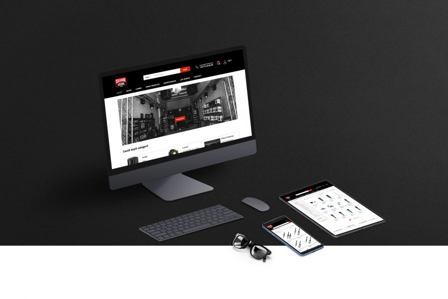 clean sound and light webshop branding affarit studio ecommerce programare dezvoltare software